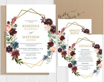 Wedding Invitation Set Blue Burgundy Watercolor Floral Green Eucalyptus Gold Geometric Printed Invite Suite SC616(120LB premium card stock)