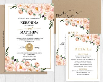 Dusty Rose Wedding Invitation Set Watercolor Dusty Rose Pink Blush Floral Gold Printed Invite RSVP Suite SC123(120LB premium card stock)