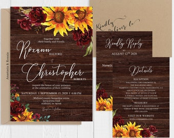 Rustic Sunflower Burgundy Cranberry Floral Wedding Invitation Rustic Country Wedding Printed Invite Set SC997(120LB premium card stock)