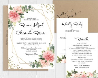 Blush Pink Floral Gold Geometric Wedding Invitation Spring Summer Wedding Invitation Printed Invite Set SC144(120LB premium card stock)
