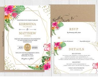 Tropical Floral Wedding Invitation Set Flamingo Summer Gold Glitters Wedding Invitation Printed Invite Set SC142(120LB premium card stock)