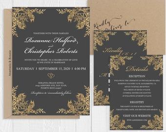 Vintage Glam Wedding |Invitation Faux Gold Rose and Gray Wedding Invitation Suite Printed Invite Set SC115(120LB premium card stock)