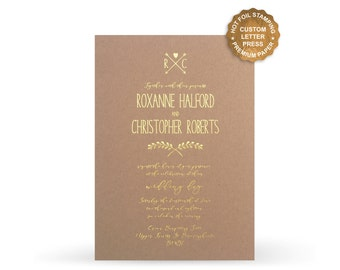 Letterpress Foil Wedding Invitations on Kraft Paper Hot Foil Invite Suite - Free Shipping - PF5101