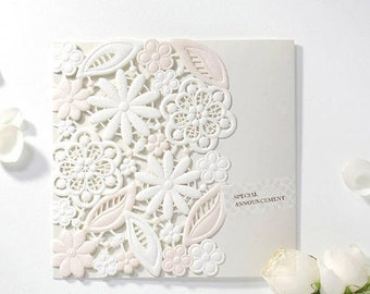 Laser cut wedding invitation Peach White Lace wedding invitations Laser cut flower invitation All in one Invite RSVP Envelope Seal  BH7018