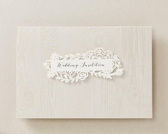 Laser cut wedding invitation Rustic wedding invitations All in one Invitation RSVP Free Envelope Seal  BH7207