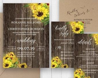 Rustic Sunflower Wedding Invitation, Rustic Wedding, Country Wedding Invite set, Wood Wedding Invitations- SC420(120lb premium card stock)