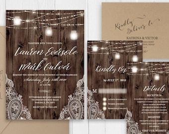 Rustic Lace Wedding Invitation Rustic Wood Mason Jars String Lights Wedding Set Printed Invite RSVP Details SC620(120LB premium card stock)