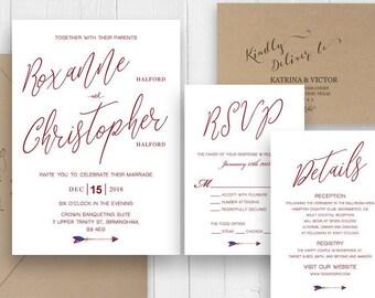 Burgundy Calligraphy Wedding Invitations Printed Invite Response card Details Menu Card Vineyard Wedding SC324(120LB premium card stock)