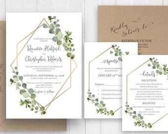Eucalyptus Gold Geometric Wedding Invitation Green Botanical Greenery Wedding Printed Invite RSVP Details SC601(120LB premium card stock)