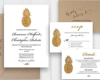 Gold Pineapple Wedding Invitation Tropical Invitation Announcement RSVP Details, Printed wedding invitation, SC309(120lb premium card stock)