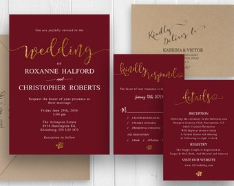 Simple Burgundy Marsala Red Wedding Invitation Gold Glitter Wedding Invitations Printed Invitation set SC487(120LB premium card stock)