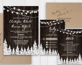 Rustic winter wedding invitations Country barn wood pine trees string of lights Wedding Printed Invite Set SC621(120LB premium card stock)