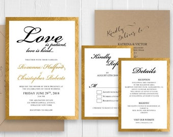 Elegant Gold Glitter Framed Wedding Invitation Set Birthdays Engagement Showers Love is patient love is kind SC589(120LB premium card stock)