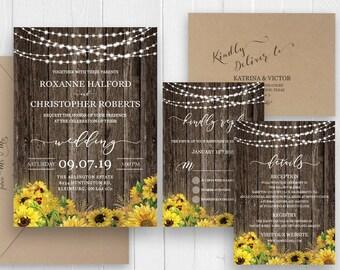 Wedding Invitations Set Rustic Sunflower Wedding Invitations Stationary RSVP card Thank you Details Invite - SC422(120lb premium card stock)