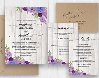 Rustic Wedding Invitation set Purple Violet Plum Floral Invitations Country Gray Barn Wood Invite suite SC466(120LB premium card stock)