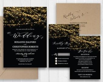 New year eve Wedding Invitations Elegant Black Gold Wedding Invitation Set Printed Invite RSVP Details Cards SC564(120LB premium card stock)