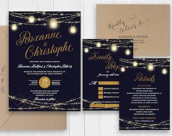 Navy Blue Wedding Invitation Set Gold Glitter String Lights Invitation Printed Invite RSVP Party Cards SC543(120LB premium card stock)