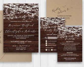 Rustic Wedding Invitation Set Elegant Wedding Invitation Printed Invite RSVP Details Menu Card Bridal shower SC572(120LB premium card stock)