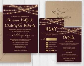 Burgundy Wedding Invitation Burgundy Marsala Gold Wedding Printed Invite RSVP Details Birthday Bridal Shower SC592(120LB premium card stock)