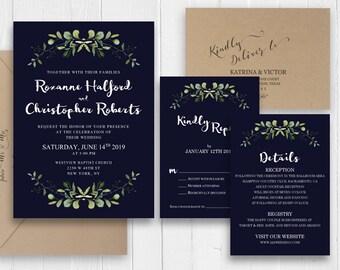 Elegant Navy Blue Wedding Invitation Greenery Invitation Set Printed Invite RSVP Belly Band Bridal Shower SC577(120LB premium card stock)
