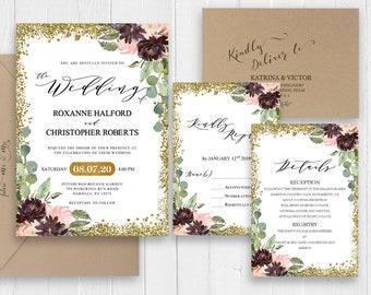 Gold Glitter Green Wedding Invitation Burgundy Marsala Peach Navy Floral Wedding Printed Invite RSVP Details SC595(120LB premium card stock)