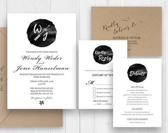 Simple Wedding Invitation, Minimalist Wedding Invitation, Modern Invitation, Printed wedding invitation set, SC376(120lb premium card stock)