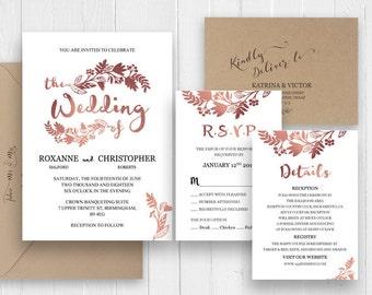 Elegant rose gold wedding invitation set, Invitations Announcement RSVP Details, Printed wedding invitation, SC370(120lb premium card stock)