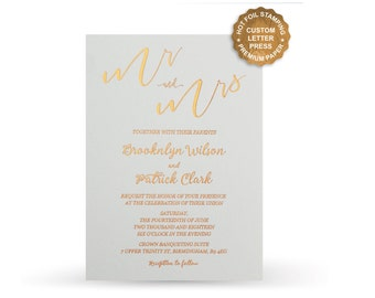 Custom Foil Invitations Affordable Hot Foil Letterpress Wedding Invitations Set - Free Shipping - PF5206