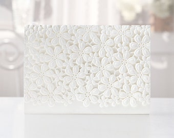 Elegant Laser Cut Laced Floral White Wedding Invitations All in one Invite RSVP Envelope Seal BH4119