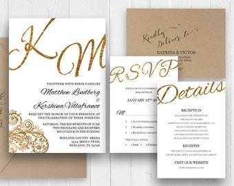 Elegant Gold Wedding Invitation Set Faux Gold Scrip Invite RSVP Enclosure Printed Invite StationerSuite SC474(120LB premium card stock)