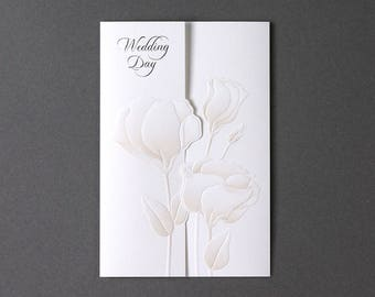 Romantic peach flower Laser cut Wedding invitations All in one Invitation RSVP Envelope Seal - Free Shipping - CH2988