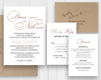 Elegant Simple Calligraphy Wedding Invitation Set Rose Gold Scrip Wedding Invitation Printed Invite Suite SC325(120LB premium card stock)