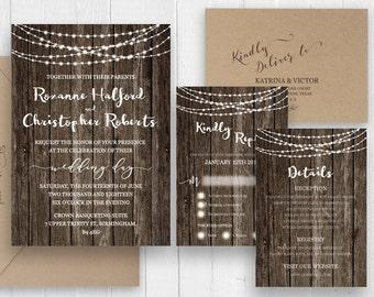 Rustic wedding invitation, Printed wedding invitation,  Rustic Country Barn Wood Wedding Invitation set - SC381(120lb premium card stock)
