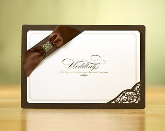 Personalized Brown Layered Wedding Invitations Laser Cut, Ribbon YM704 - - - RSVP with Envelopes Seals - - - - - - - Free Shipping Promotion