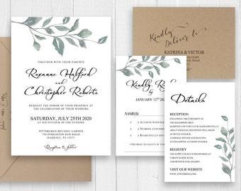 Green Eucalyptus Wedding Invitation Set Green Leaves Botanical Wedding Printed wedding invite RSVP Suite SC508(120LB premium card stock)