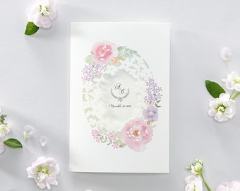 Watercolor Flower Laser Cut Wedding Invitation All in one Invitation RSVP Envelope Seal - Free Shipping - BH6013