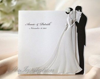 Elegant Wedding Invitations, White Embossed Bride and Balck Groom wedding invites, All in one Invitations RSVP Envelopes Seals - BH2069