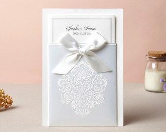 Elegant  White Ribbon Pocket Wedding Invitations All in one Wedding Invitation RSVP Envelope Seal  G1013