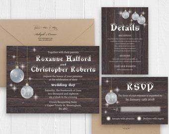 Rustic Winter Wedding Invitation Set Christmas Snow Wedding Printed Wedding Invite RSVP Details Menu Cards SC334(120LB premium card stock)