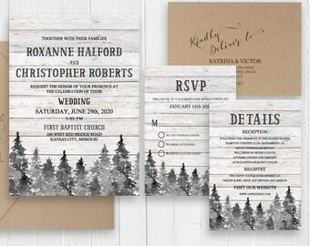 Rustic Winter Wedding Invitation Set Barn Wood Pine Trees Wedding Suite Printed Country Wedding Invitation SC505(120LB premium card stock)