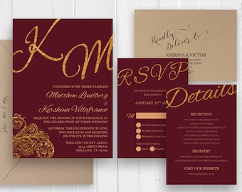 Marsala wedding invitation with gold glitter flourish scroll Burgundy Wine Cranberry Wedding invitation set SC472 (120LB premium card stock)