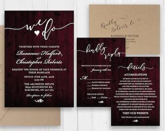 Rustic Dark Cherry Wood Wedding Invitation Set Calligraphy Invitation Printed Invite RSVP Details Menu Cards SC513(120LB premium card stock)