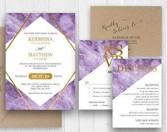 Purple Wedding Invitations   Purple Wedding Invitation Etsy