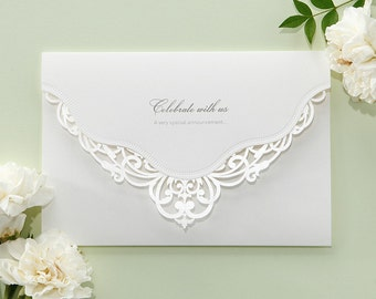 White Victorian Lace Wedding Invitations Elegant Laser Cut Invitation All in one Invitation RSVP Envelope Seal - Free Shipping -  BH5138
