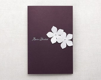 Purple Wedding Invitations 3D blooming flower Wedding Invitations All in one Wedding Invitation RSVP Envelope Seal - Free Shipping - CH1927