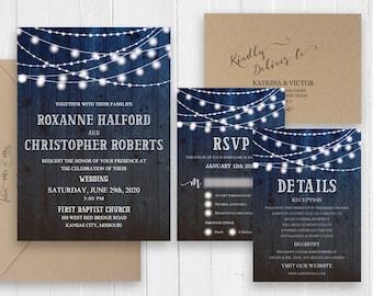 Country wedding invitations Rustic Dark blue Brown Wood Barn Printed Wedding Invite RSVP Details Menu Map SC503(120LB premium card stock)