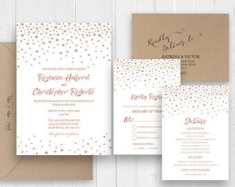 Wedding Invitation, Affordable Wedding Invitation, Rose gold wedding invitation set, Elegant wedding invite SC379(120lb premium card stock)