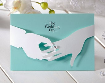 Sky Blue Wedding Invitations Laser cut Marriage Ring wedding invitations All in one Invitation RSVP Envelope Seal - Free Shipping - CH2859