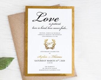 ANY YEAR, 50th Anniversary Invitation Faux Gold Glitter Party Anniversary Invitations PRINTED Invite PC589(120LB premium card stock)