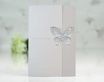 Silver foiled butterfly wedding invitations All in one wedding invitations RSVP - Envelope Seal - Free Shipping Promotion - # PK1509